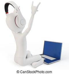 3d man happy with laptop and headphones