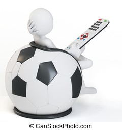 3d man football chair with remote on white background