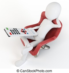 3d man sitting on a chair with remote