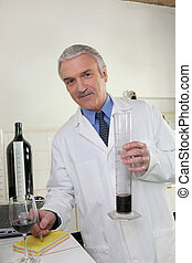 an oenologist writing notes