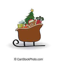 Christmas sleigh with gifts, isolated on white background
