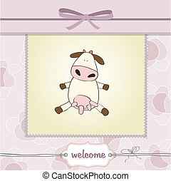 new baby arrived card with cow