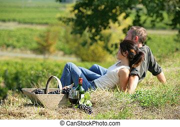 Couple drinking wine in a field