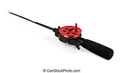 Ice fishing rod - Plastic ice fishing rod isolated on white