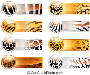 wild web banners - Abstract wild variety of 8 horizontal web...