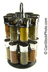 spices set - different spices rolling set in glass jars on...