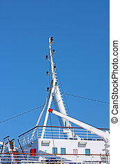 Signal lights on the mast of the ship