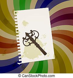 vector abstract retro background with vintage key, shit of paper, and grungy blots