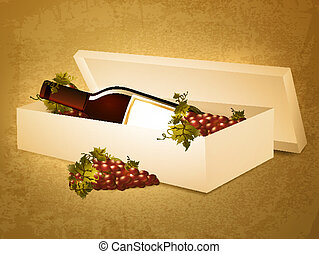 wine bottle in box with red grape at grunge background -...