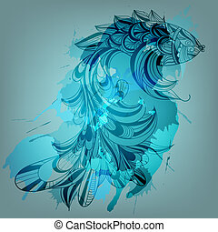 vector background with blue fish and grungy splashes