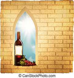 wine bottle in arc window - Illustration of red wine bottle...