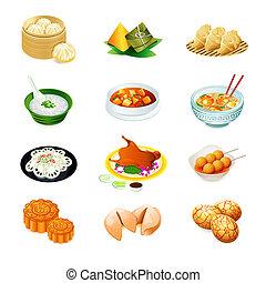 Chinês, alimento, ícones