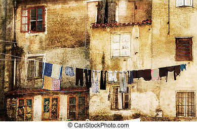 Laundry drying in ancient town - Laundry drying in an old...