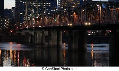 Portland Oregon Downtown Blue Hour - Portland Oregon City...