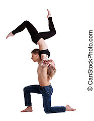 two young acrobats show stand on hand