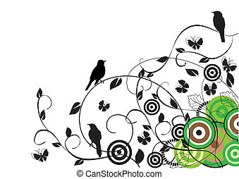 birds - vector abstract background with birds