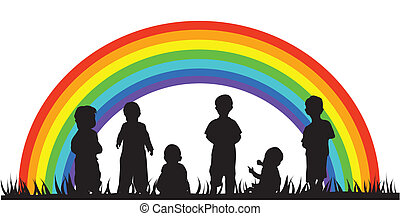 children - vector children silhouettes and rainbow