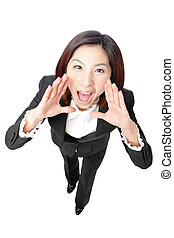 Business Woman Shouting - Isolated over a White Background,...