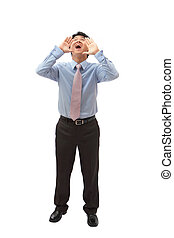 young business man shouting out loudly