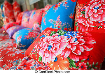 traditional chinese cloth with flower style - traditional...