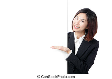 Business Woman Happy Smile Showing blank billboard - Young...