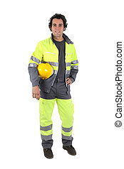 Man wearing a high visibility suit