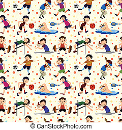 sport player seamless pattern