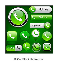 Phone high-detailed web button collection. - Phone green...