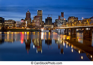 Portland Downtown City Skyline at Twilight - Portland Oregon...