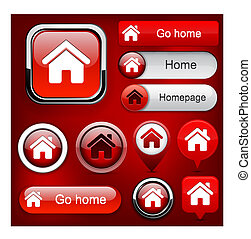 Home high-detailed web button collection. - Home red design...