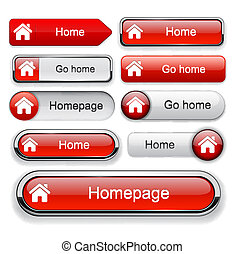 Home high-detailed web button collection - Home red design...