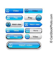 Watch high-detailed modern buttons. - Video blue web buttons...
