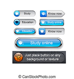 Education high-detailed modern buttons - Education web...