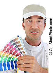 Decorator with a colour chart