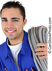 Portrait of a young electrician