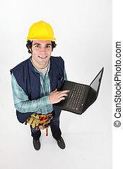 Carpenter promoting his website