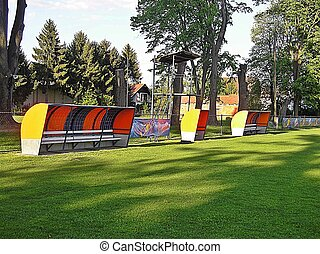 Benches for the players on the NK Virovitica stadium