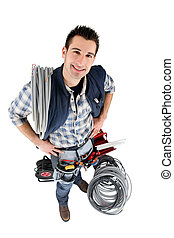 High-angle shot of a tradesman