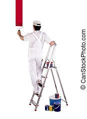 pintor, posición, escalera