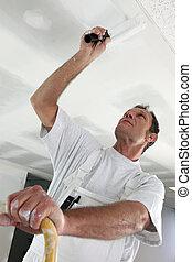 pintor, habitación, debajo, construcción