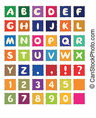 cartoon alphabet on square colored paper ABC font
