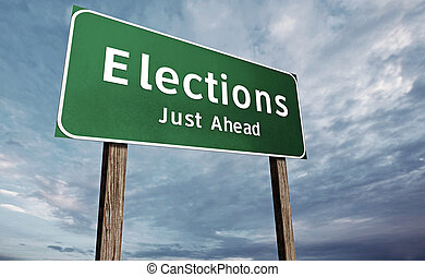 Election Road Sign - Elections right ahead on a green...