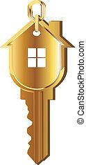 casa, llave, oro, logotipo