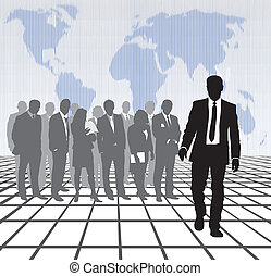 Trade world policy - Digital Illustration of businessmen and...