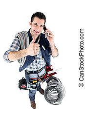 Handyman, giving, thumb's, up
