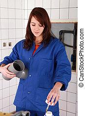 female technician working