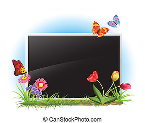 photoframe with spring flowers