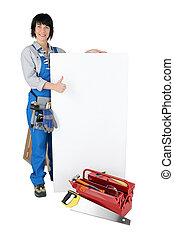 female crafts person with tool case and white board