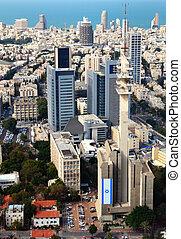 Tel Aviv Cityscape - Aerial view of the City of Tel Aviv,...