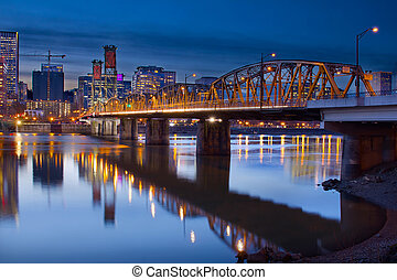 Hawthorne Bridge Over Willamette River In Portland Oregon...
